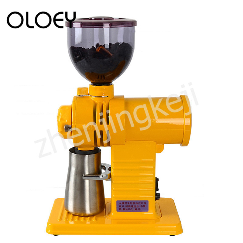 Yellow Electric Coffee Bean Grinder Fully Automatic Detachable 10 File Thickness Adjustable Anti-jumping Bean High Capacity Fast