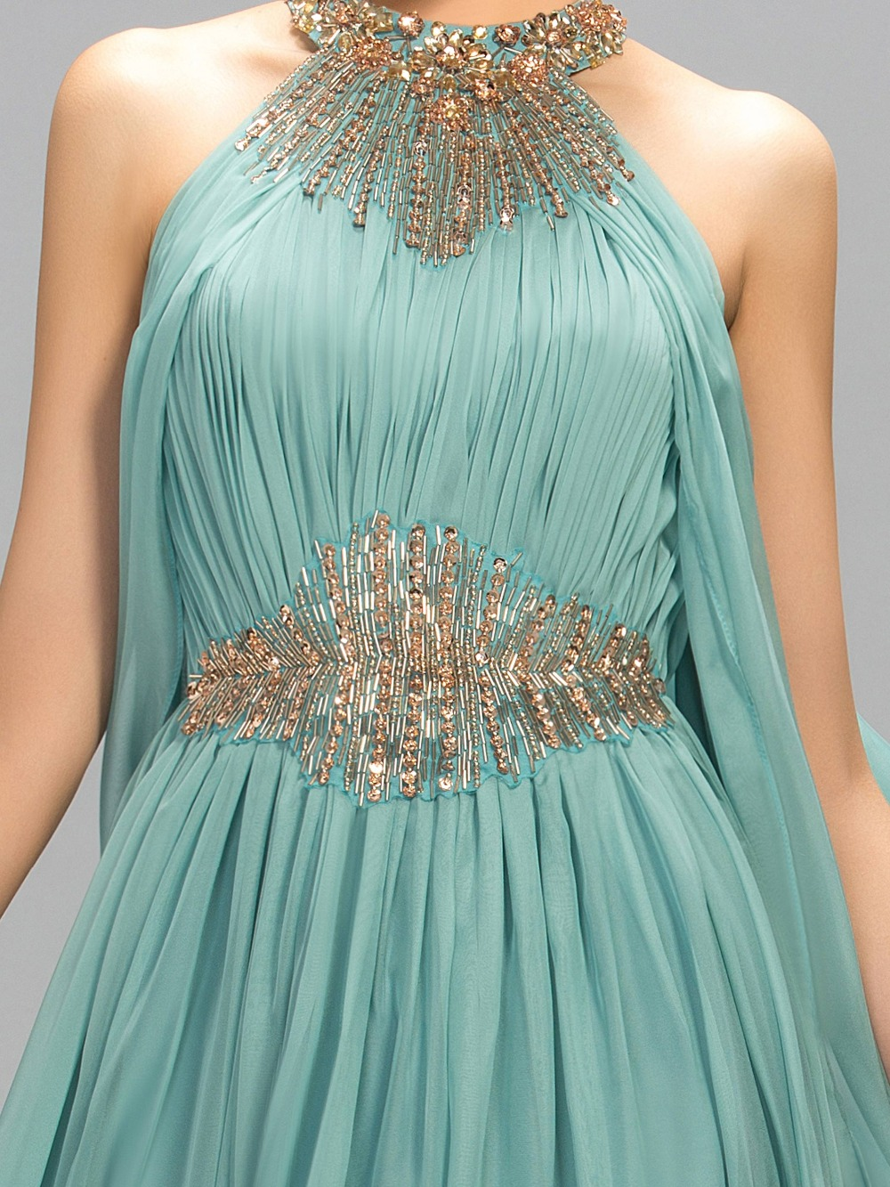 DressV Mint Blue Jewel Neckline Chiffon Long Evening Dress A Line ...