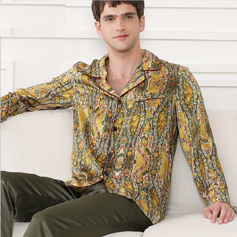 Silk Stain Pajamas Set For Men Autumn 2019 Male Silk Sleepwear Night Wear Homewear Sets Pijamas Pants  Plus Size Pyjama Set 2xl