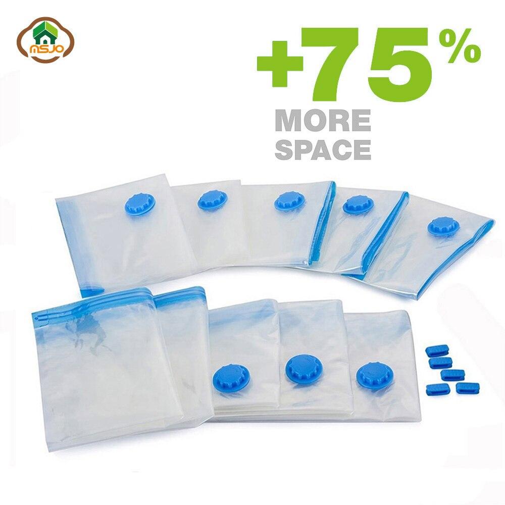 Msjo bolsas de vacío para la ropa transparente borde plegable extra - Organización y almacenamiento en la casa