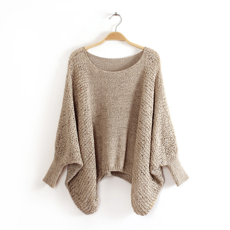 Knit O-Neck Long Sleeve Pullover Loose Sweater 2
