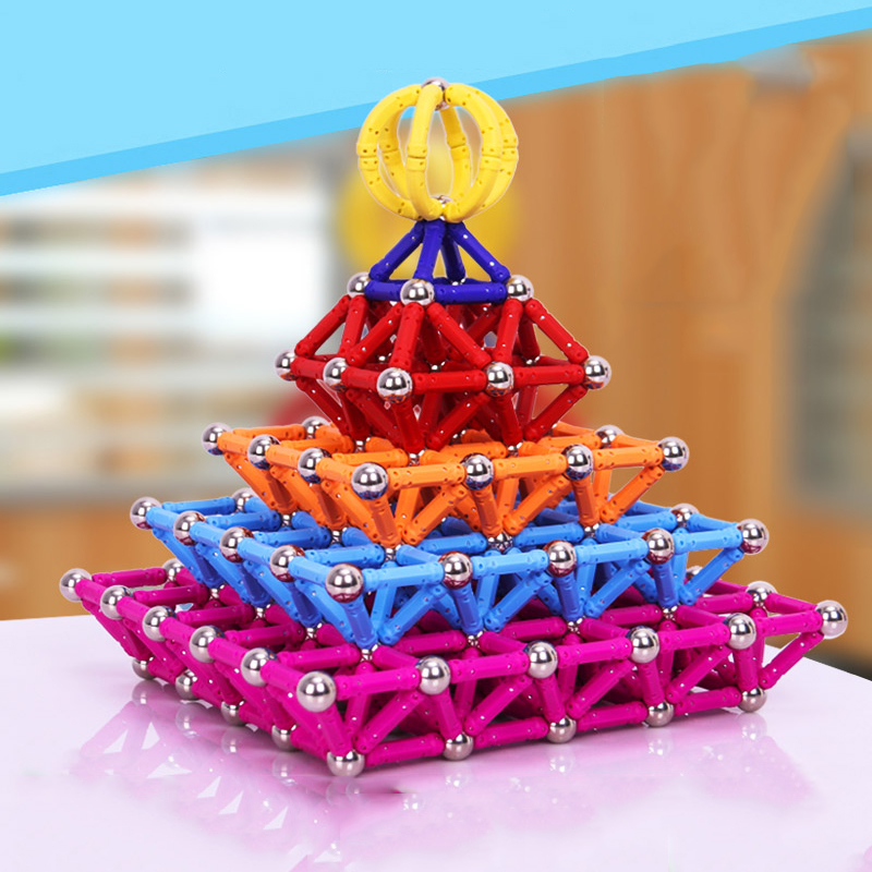 wholesale Magnet Toy Bars Magnetic Building Blocks Construction Toys For Children Designer Educational Toys For Kids Metal Balls(China)