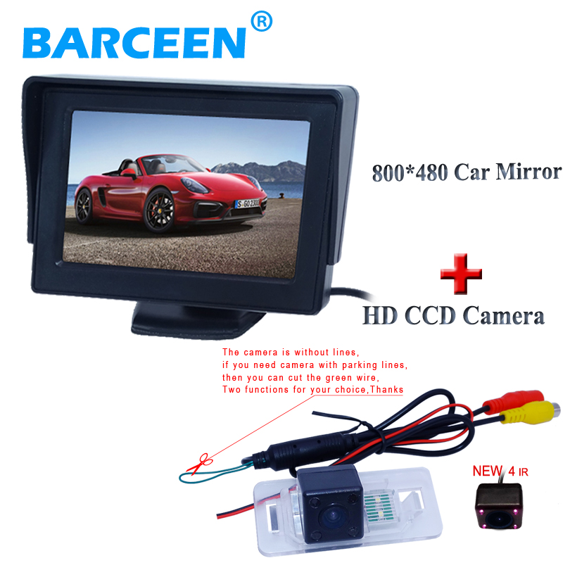 Use for BMW 3/5 Series car rear view monitor 4.3 and hd ccd night vision car backup camera 4 ir light promotion period