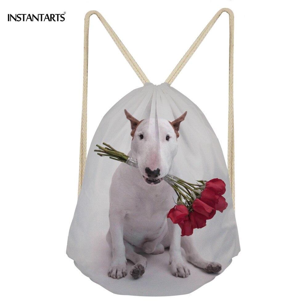 INSTANTARTS Cute Bull Terrier Prints Women Drawstring Bag Fitness Light Backpack Boys Girls Travel Fitness Storage