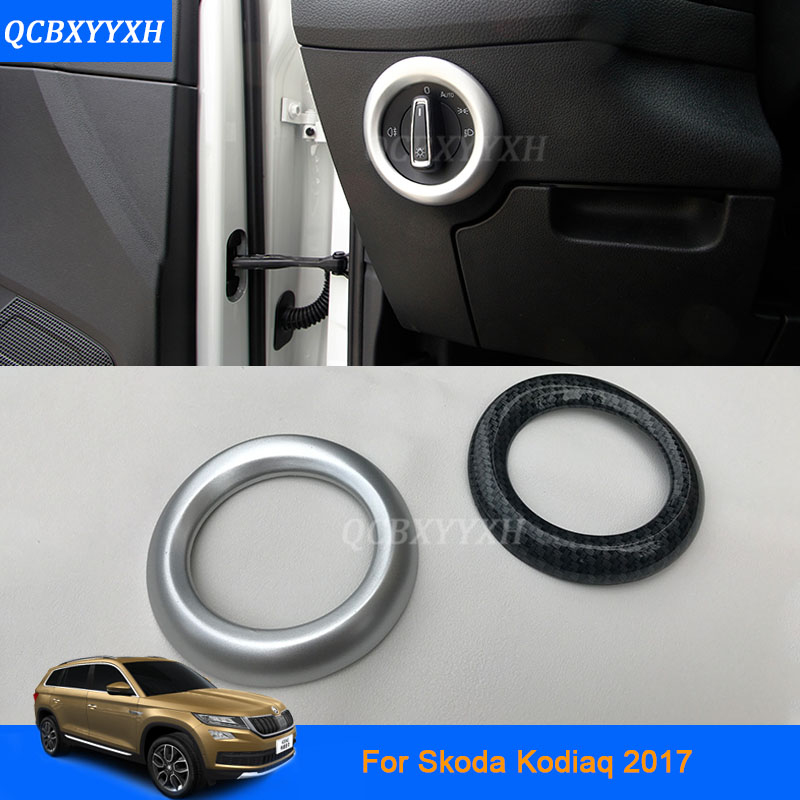 Car Styling Headlight Switch Button Sequins Dedicated Interior ABS Chrome Trim Cover For Skoda Kodiaq 2017 Accessory Sequins car styling abs headlight switch button sequins dedicated interior chrome trim cover for nissan murano 2015 2016 sequins hxy0643