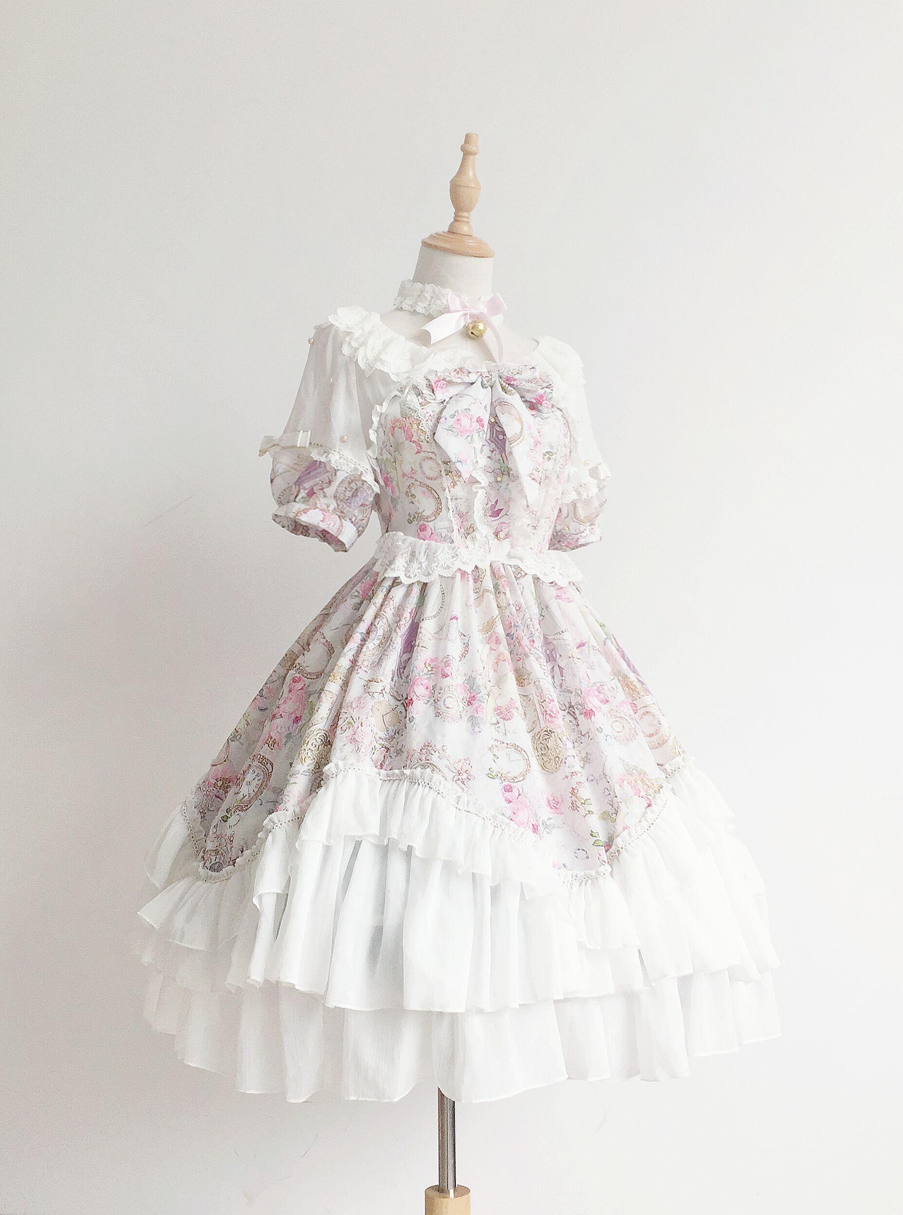 Courtes Par Soufflesong Op Mousseline Ciel Lolita Série rose Antique Horloge Pu Exclusif Robe Soie Manches De Design Bouffantes En 6gxR8H6