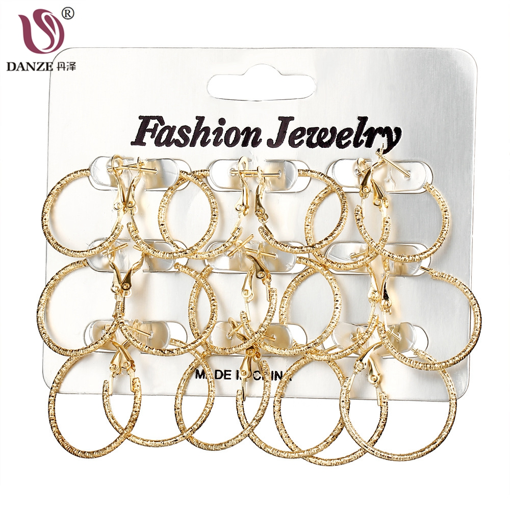 DANZE 9 Pairs/lot Fashion Gold/Silver Color Frosted Circle Hoop Earrings Set For Women C ...