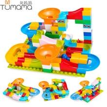 Tumama 52-208 шт. мраморная гонка Запуск лабиринт шары трек строительные блоки Воронка слайд большой размер Строительный кирпич совместимый Legoed Duploed