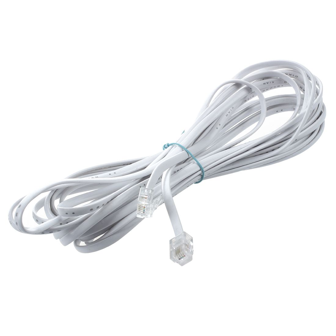 White RJ11 6P4C Modular Telephone Extenstion Lead Cable 6M 20ft