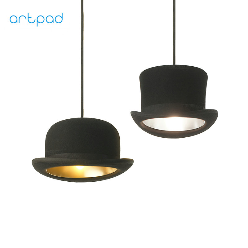Artpad Modern European Black Top Hat Pendant Light Jeeves&Wooster E27 Aluminium LED Pendant Lamp For Kitchen Coffee Bar Fixtures hat light new design top pendant lights aluminum gentleman formal hat light creative pendant lamp for kitchen coffee shop bar