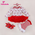 baby girl clothes Xmas Baby Girl Dress 4pcs Infant Clothing Sets Santa Claus Romper Dress/Jumpersuit Baby Christmas Dress Bebes