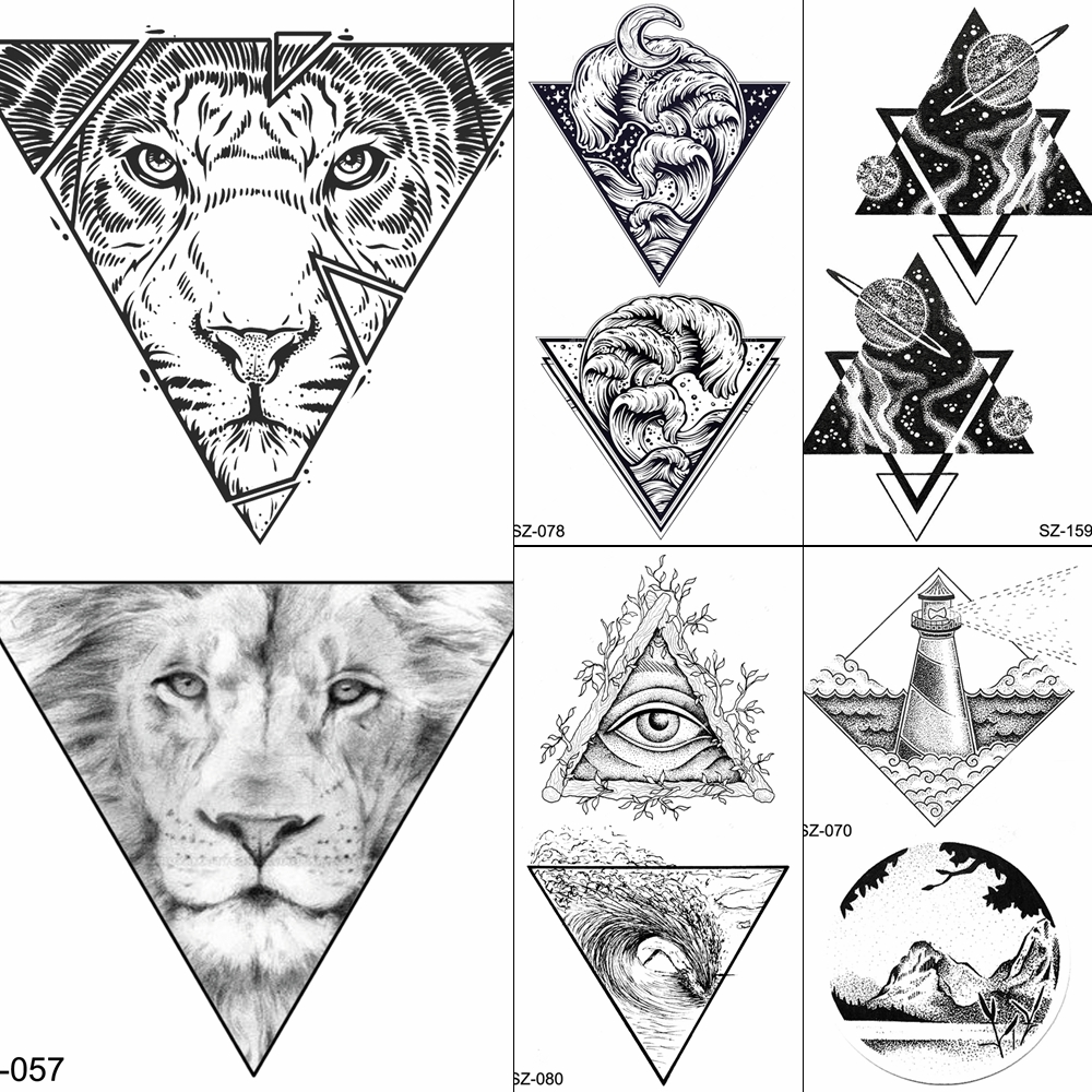 FANRUI Men Arm Art Tattoos Temporary Women Geometric Tiger Fake Tattoo Stickers Chest Triangle Lion Black Waterproof Tatoo Paste