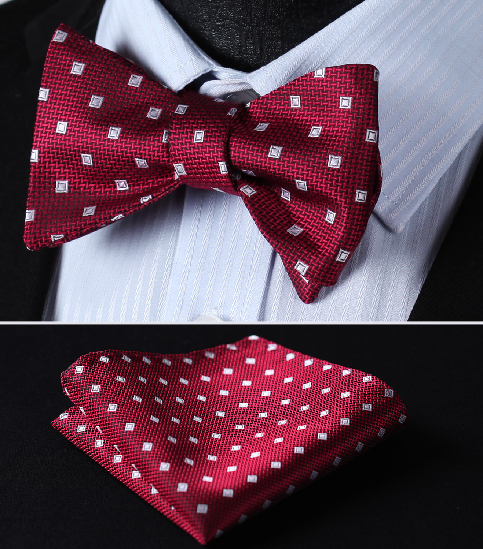 BC605RS Red White Check Bowtie Men Silk Self Bow Tie Handkerchief Set