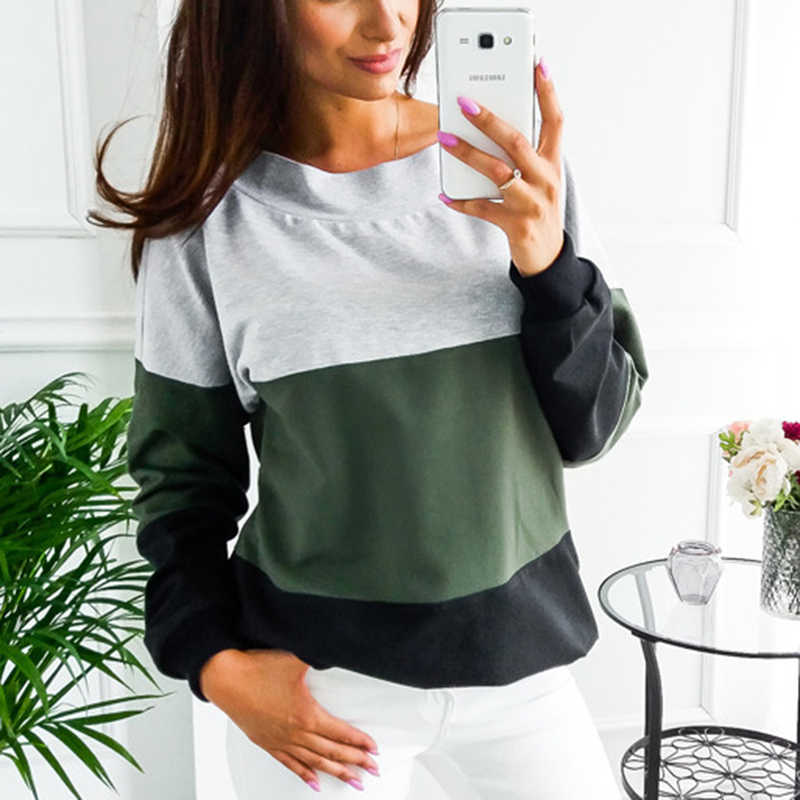 Female Pullovers Tops Sport Colors Patchwork Women O-Neck Sweatshirts Back Lace-up Long Sleeve Tennis T-Shirt New