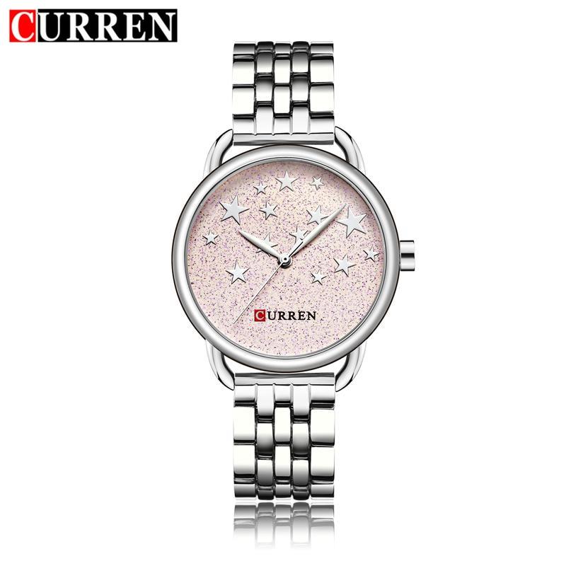 CURREN Fashion Watch Women Quartz Watches Silver Stainless Steel Stars Dial Woman Wristwatches Dress Elegant Reloj Mujer 9013 цены