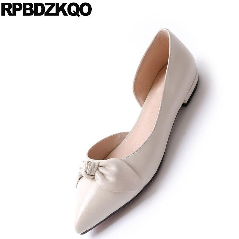 Blanc Chaussures Usine Femmes Véritable Mariage De Mignon Beige Pointu Peu Appartements Directe Cuir rose Arc Slip En Bowtie Rose Sandales Sur noir Dames Avec 67vw6