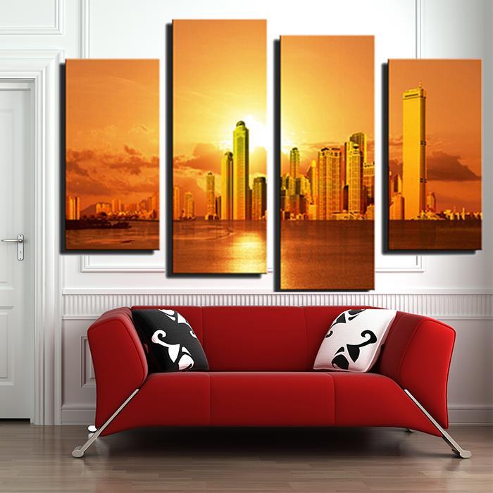 panel hermosa ciudad con puesta de sol grande imagen impresin de la lona pintura moderna