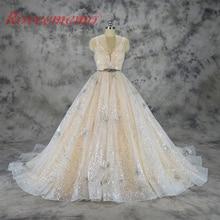 Vestido de Noiva do casamento do projeto do laço brilhante vestido de casamento do laço de lantejoulas vestido feito sob encomenda da fábrica de preços por atacado vestido de noiva
