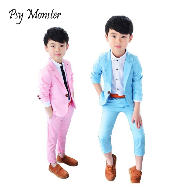 Boys Formal School Suits For Weddings Brand Prince Kids Party Tuxedos Boys Gentlemen Birthday Dress Blazer + Pants 2PCS Costume