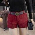 2016 Novos Calções Mulheres Outono Inverno Feminino Faux Camurça Borla Calções Plus Size Engrossar Calça Jeans Boot Cut Shorts Femme