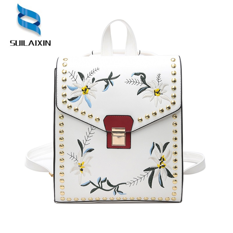 Women Leather Embroidery Backpack Solid Vintage School Bag for Teenager Girl Flowers Rivets Printing Embossing Backpack