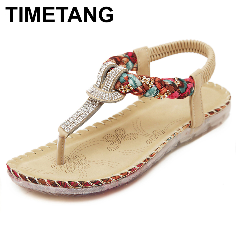 TIMETANG Women Sandals Bohemia Women Casual Shoes Sexy Beach Summer Girls Flip Flops Gladiator Fashion Cute Women Flats Sandals stylesowner 2018 summer beach women sandals lace high heel shoes see through gladiator women sandals sexy casual sandals shoes