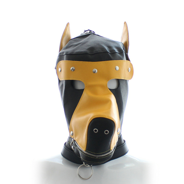Pu Dog slave head Hood hoods Head bondage fully enclosed fun headgear masks sex game Hoods & game for couples VP-HD007009A