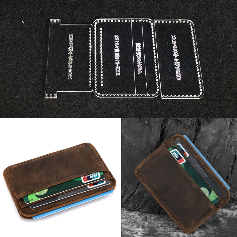 DIY Small Card Holder Leather Craft Acrylic Sewing Template Photo Card Bag Leathercraft Tool Set Sewing Pattern 10.5x7.5x1cm