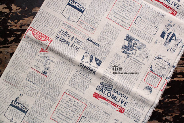 US $13 51 14% OFF|Free shipping vintage old newspapers handmade linen  fabric Patchwork home furnishings textile fabric for sewing material  1meter-in