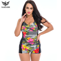 One Piece Swimsuit 2016 Plus Size Swimwear Women Vintage Retro Padded Print Polka Dot 60S Unique