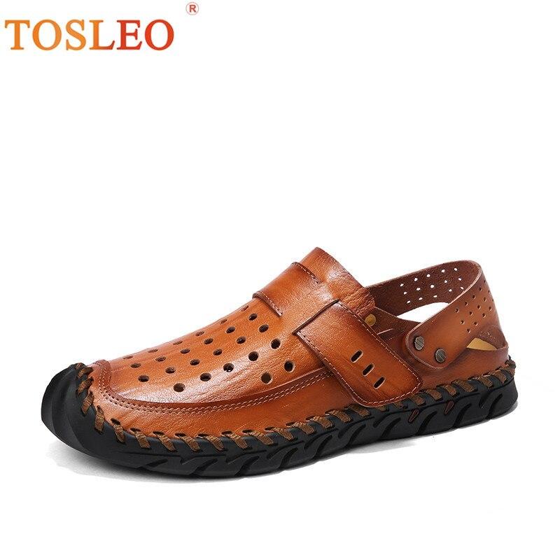 2018 Men Summer Shoes Handmade Breathable Men Leather Shoes Comfortable Men Shoes Brown Black