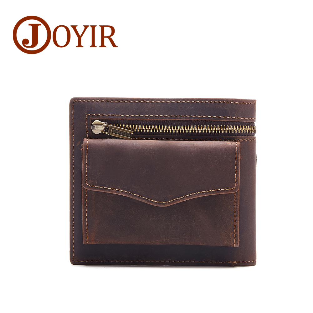 JOYIR Men Genuine Leather Wallet Short Small Wallet Male Slim Purse Wallet Men Leather Coin Purse