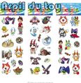 10pcs Lovely Yokai watch Cartoon PVC tattoo sticker 21.5*7.5cm 3 stylesYo-kai watch temporary tattoo Bubble stickers