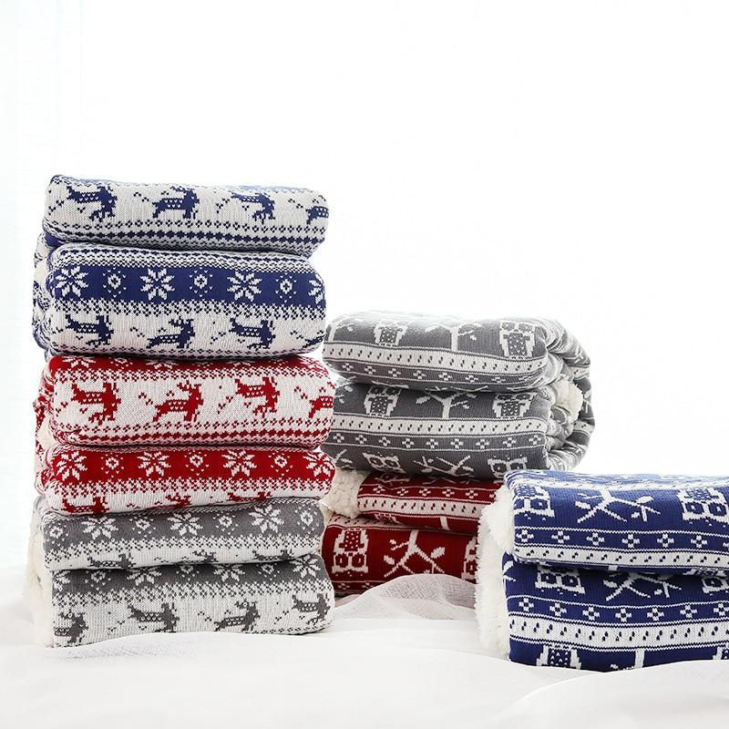 LYN & GY cadeau de noël cachemire comme fil jeter des couvertures de lit Double épaissir hiver velours jeter couverture chaude Plaids lit couverture