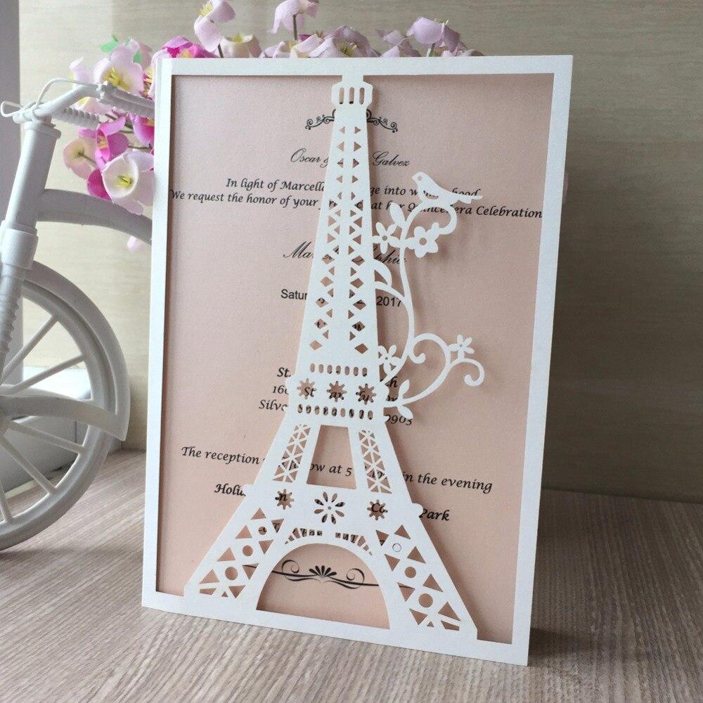 15 21 14 De Descuento 12 Piezas De Papel Brillante Cortado Con Láser Patrón De La Torre Eiffel Tarjeta De Invitación Para Fiesta De Boda Cumpleaños