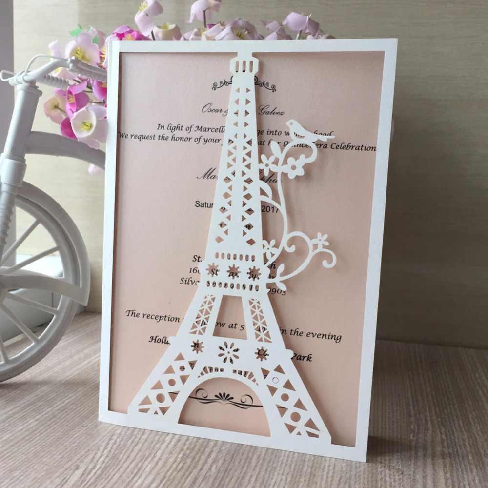 12pc Laser Cut Glossy Paper Eiffel Tower Pattern Wedding Party
