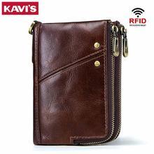 KAVIS Rfid 100% Genuine Crazy Horse Leather Wallet Men Small