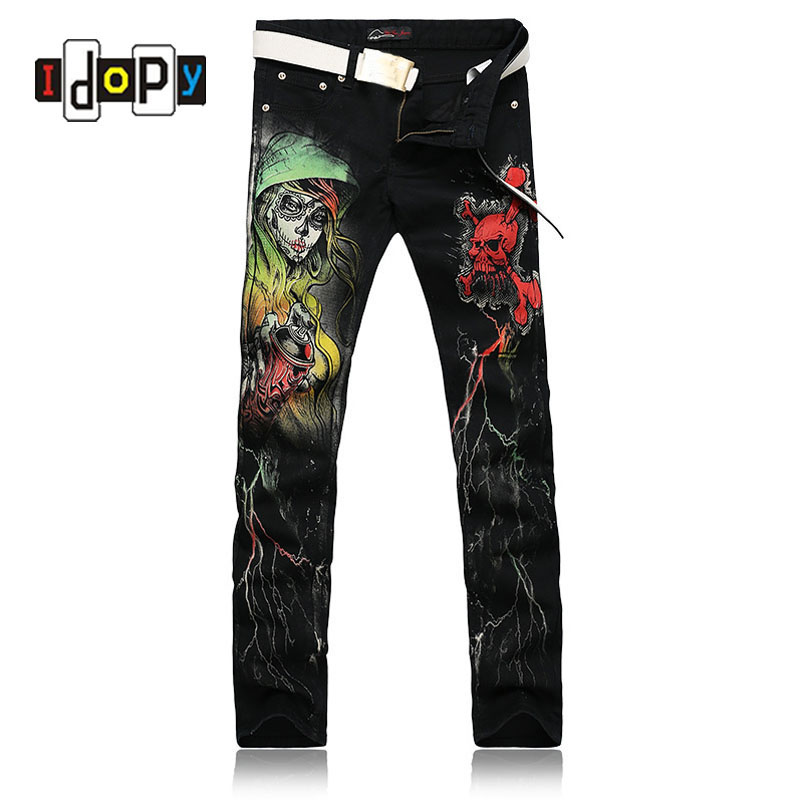 European Style Cool Skinny Jeans For Men Skull 3D Print ...
