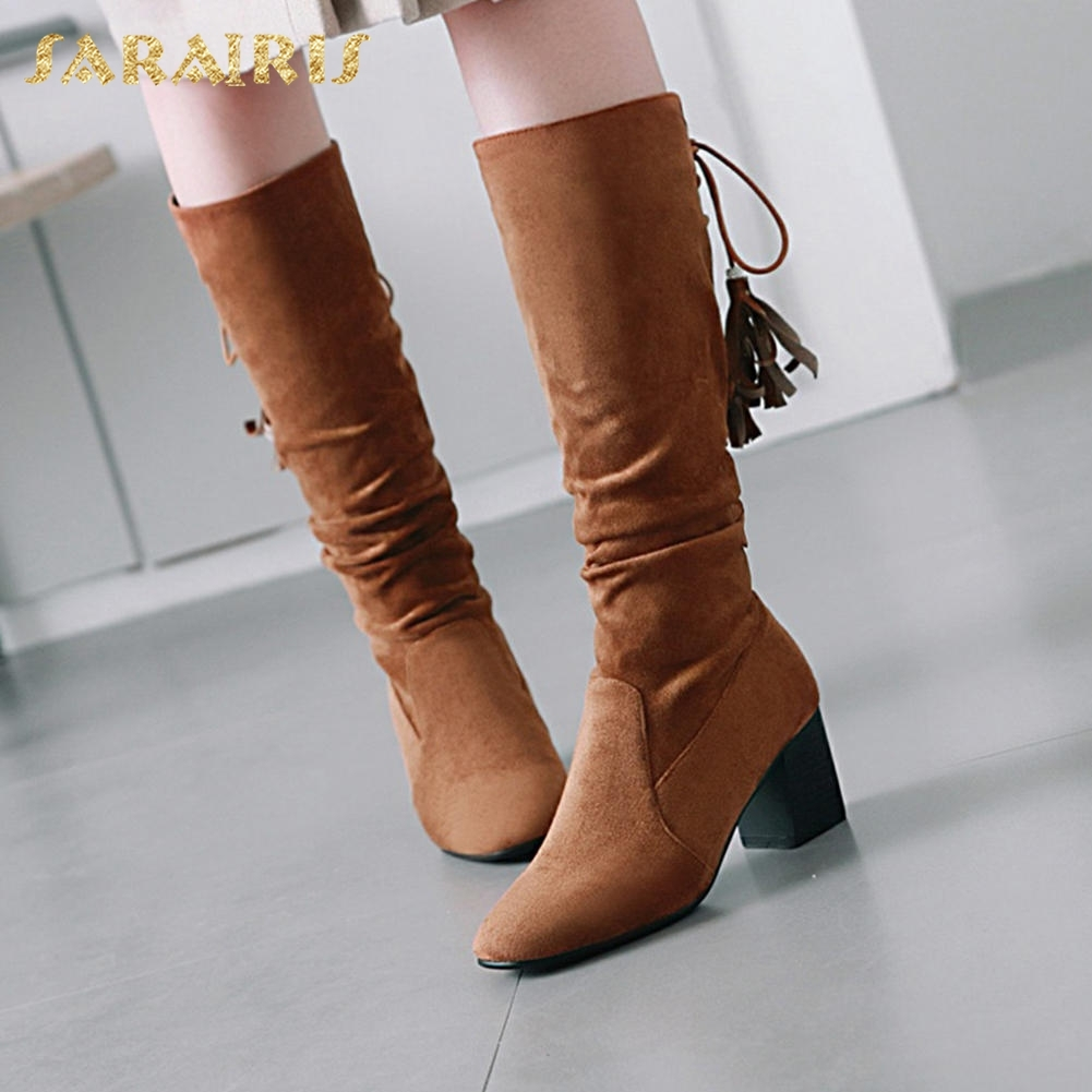 все цены на SARAIRIS Fringe Hot Sale Large Size 33-43 Slip On Fashion Shoes Woman Mid Calf Boots Chunky Heels Warm Winter Boots Shoes