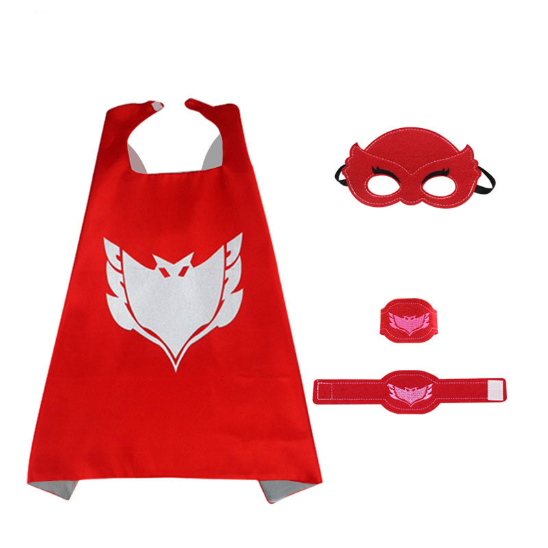 Pj Masks Costume Kids Catboy Owlette Gekko Cape With Masks Wristband Cartoon Superhero Cloak Cape Carnaval Costumes For Kids (7)
