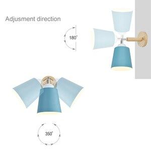 Image 5 - עץ קיר אורות קיר ליד מיטת מנורה עם מתג פמוט קיר מודרני קיר אור עבור שינה נורדי macaron היגוי ראש