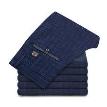 Men Plaid Formal Dress Pants Spring Autumn Suit Cotton Slim Casual Trousers For Business Wedding Plus Size 28-36