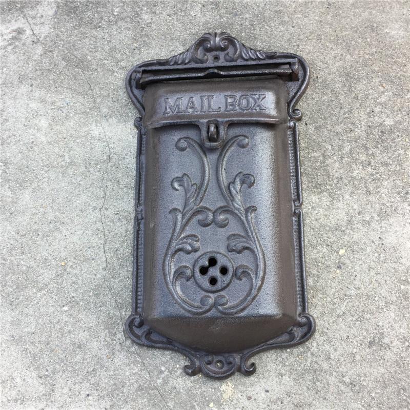 Metall Mailbox für Haus Gusseisen Briefkasten Post Box Wand Montiert - Gartenzubehör