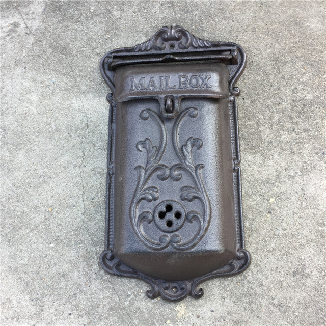 Metal Mailbox For Home Cast Iron Mail Box Post Wall Mounted Apartment Outdoor Garden Decoration Lockable Vintage Ornaments
