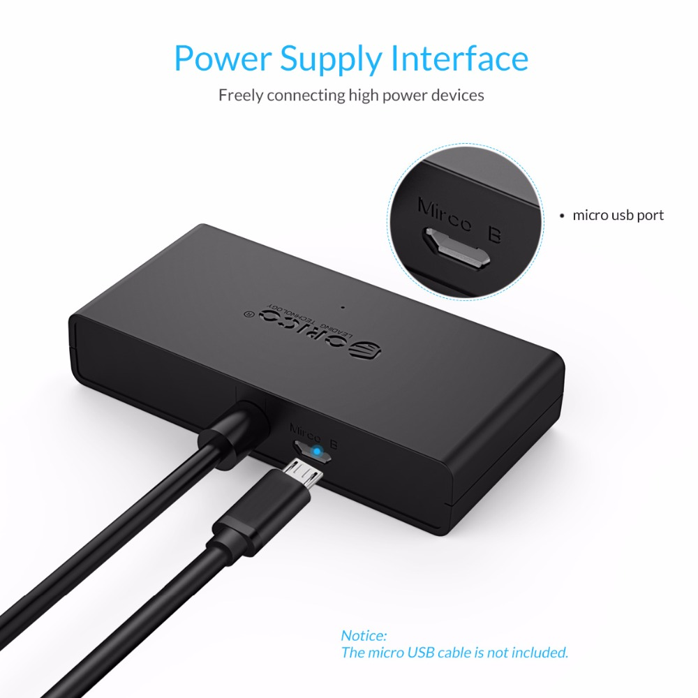 ORICO Mini USB 3 0 HUB 4 Port Power Supply OTG with Micro USB Power Interface for MacBook Laptop Tablet Computer OTG USB HUB in USB Hubs from Computer Office