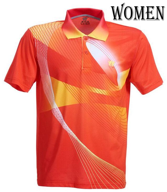 Спортивная быстросохнущая дышащая футболка для бадминтона, майки для женщин/мужчин, волейбол, гольф, настольный теннис, боулинг, мужские футболки - Цвет: woman red Shirt