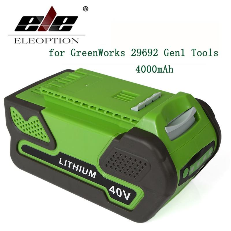 ELE ELEOPTION 40V 4000mAh Replacement Li--ion Lithium Ion Battery for GreenWorks 40V 29692 Gen1 Tools аккумуляторная воздуходувка greenworks 40v g40bl 24107