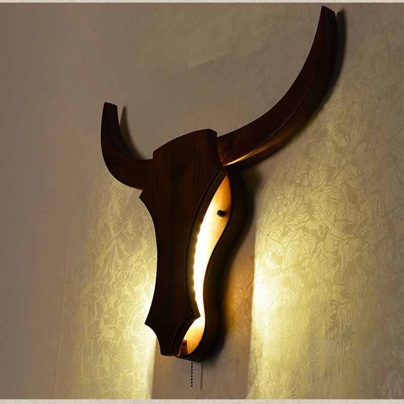 Nordic Modern Living Room Bedroom Wandlamp Simple Restaurant Study Home Deco Wall Lamps Cow Head Wood Hanging Lamp Lighting-in LED Indoor Wall Lamps from Lights & Lighting    2