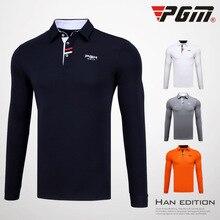 PGM, мужские рубашки для гольфа, Мужская футболка с длинными рукавами, мужская спортивная футболка с отложным воротником и длинным рукавом, Мужская зимняя теплая мягкая футболка