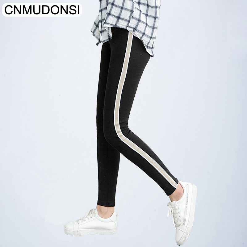 2018 Women Leggings Fitness High Waist Leggings Side Stripes Casual Pants Plus Size Female Workout Clothes Black Leggins Jegging